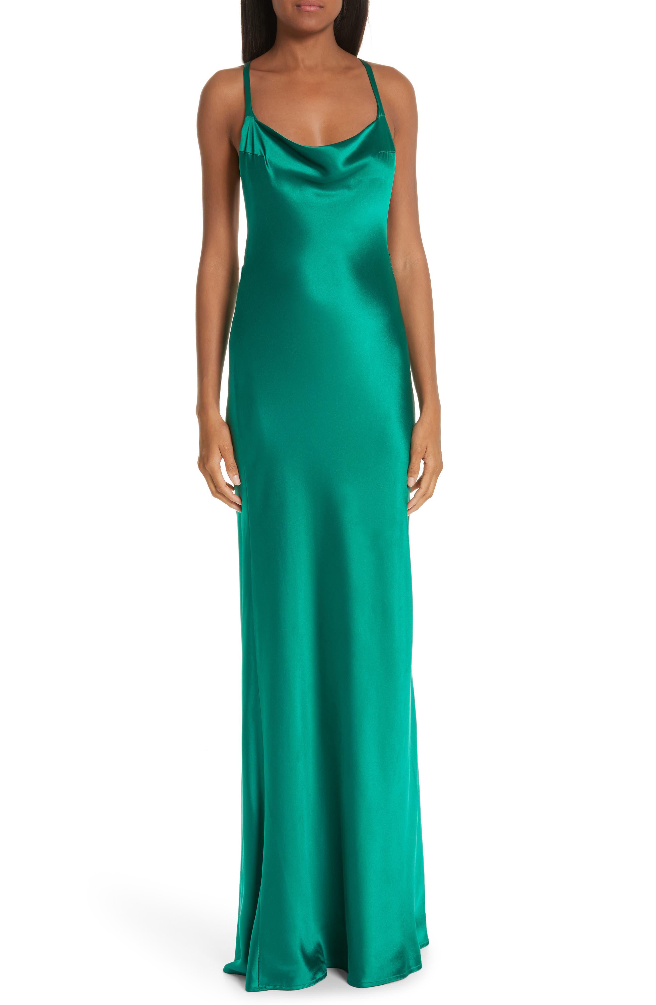 Galvan Cross Back Silk Satin Dress, 8 FR - Green