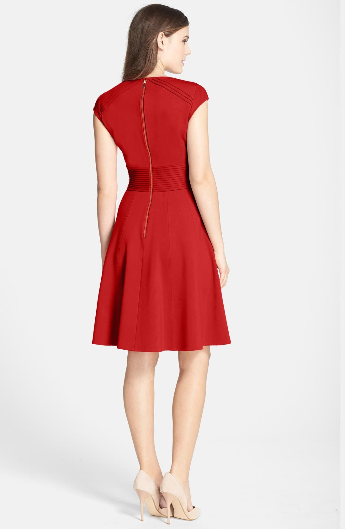 ,                             Pintucked Waist Seamed Ponte Knit Fit & Flare Dress,                             Alternate thumbnail 35, color,                             610