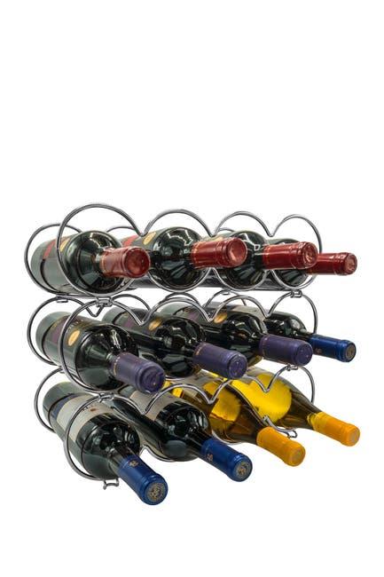 Image of Sorbus Metal Detachable Round Wine Rack - 3 Tier, Silver