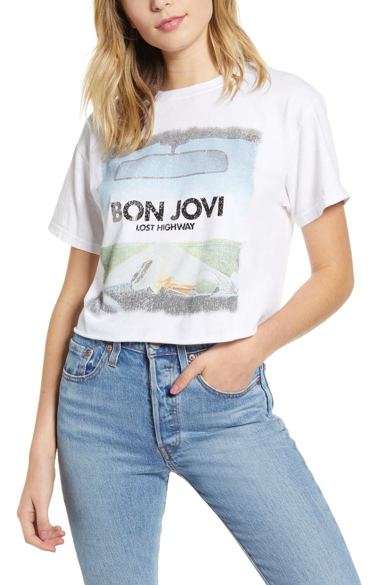 VINYL ICONS Bon Jovi Crop Tee, Main, color, WHITE
