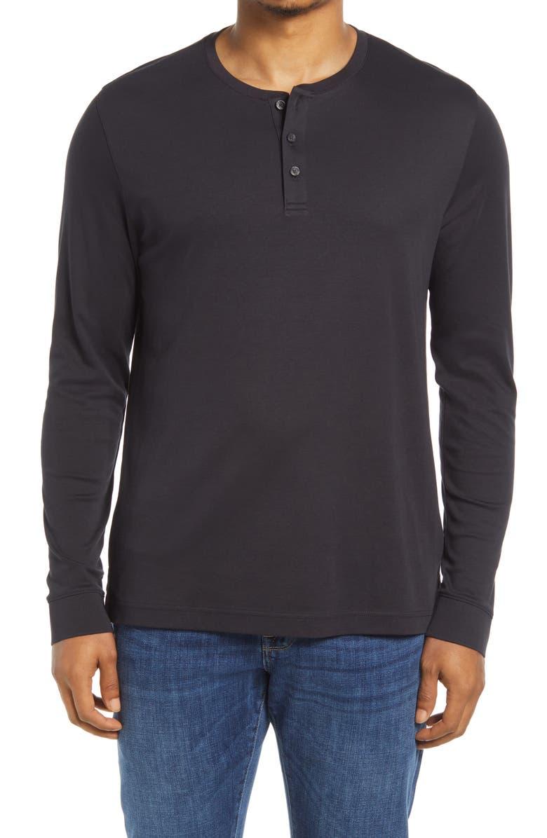 NORDSTROM Long Sleeve Henley, Main, color, BLACK CAVIAR