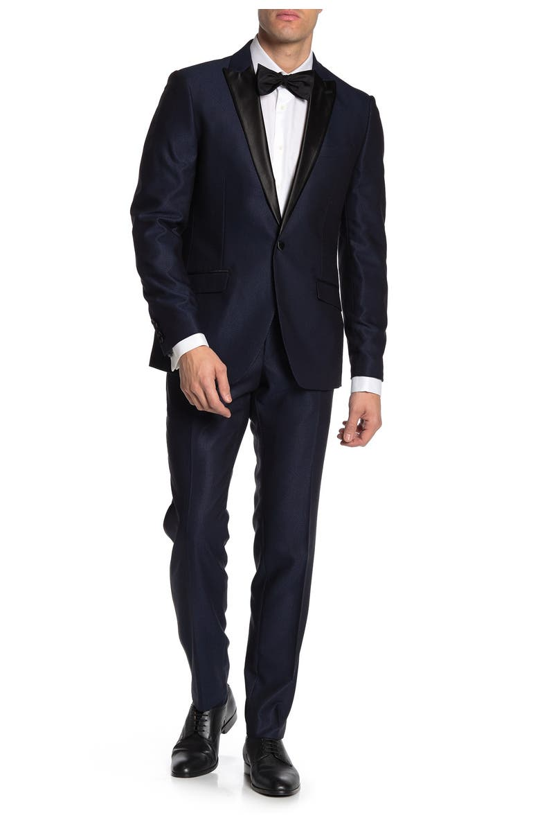 SAVILE ROW Slim Fit Peak Lapel Micro Check Satin Lapel 2-Piece Tuxedo, Main, color, NAVY