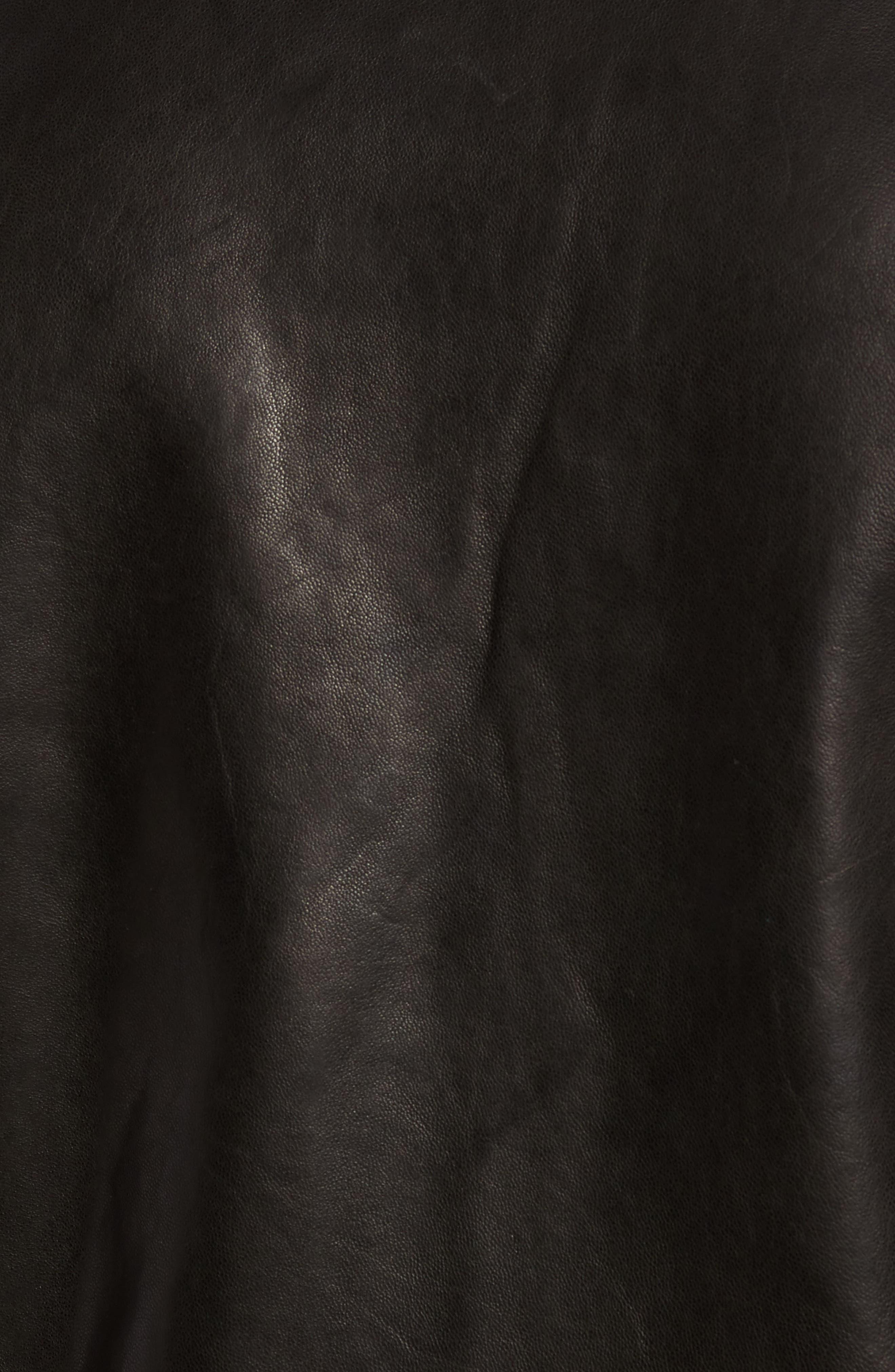 ,                             Leather Biker Jacket,                             Alternate thumbnail 5, color,                             BLACK