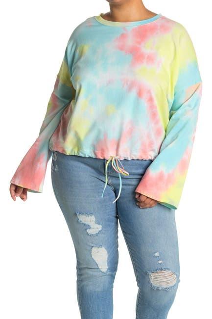 Image of 14th & Union Tie Dye Drawstring Hem Sweatshirt