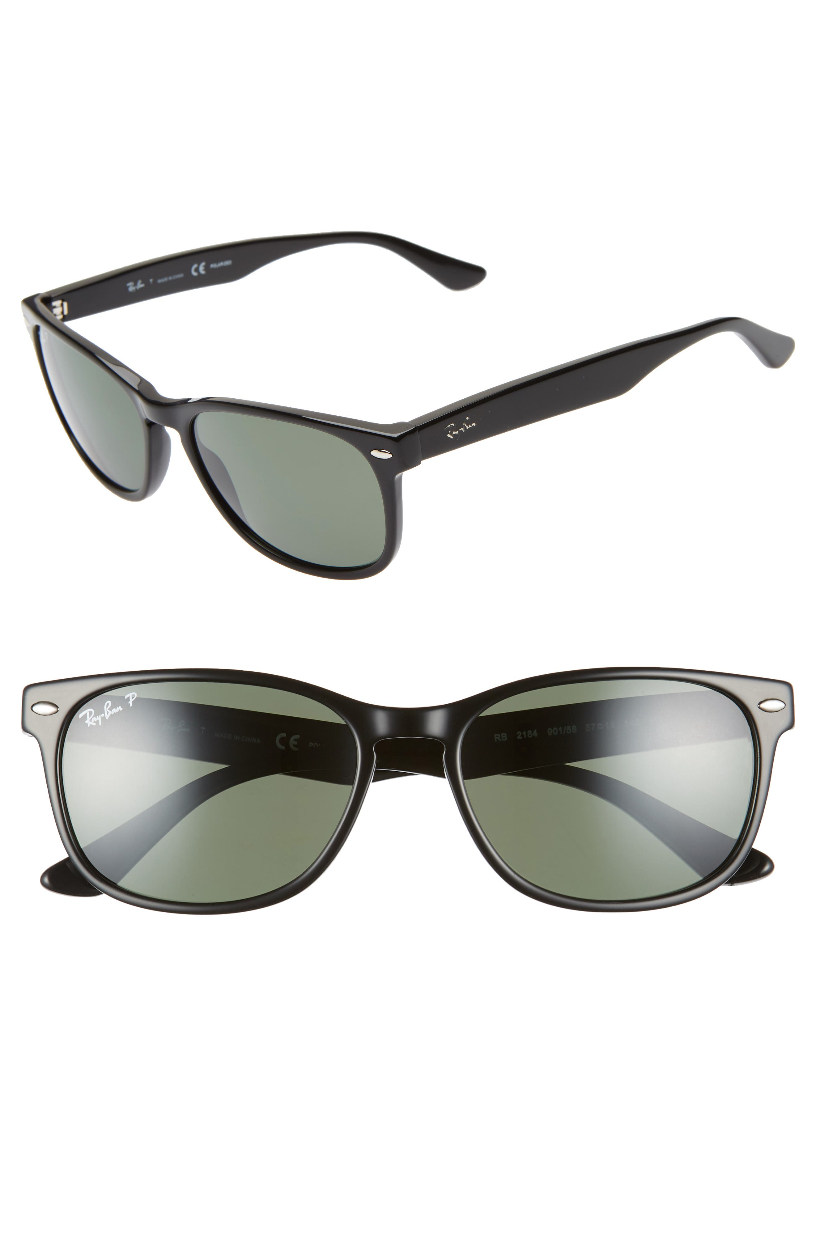 Ray-Ban Wayfarer 57Mm Polarized Sunglasses - Black