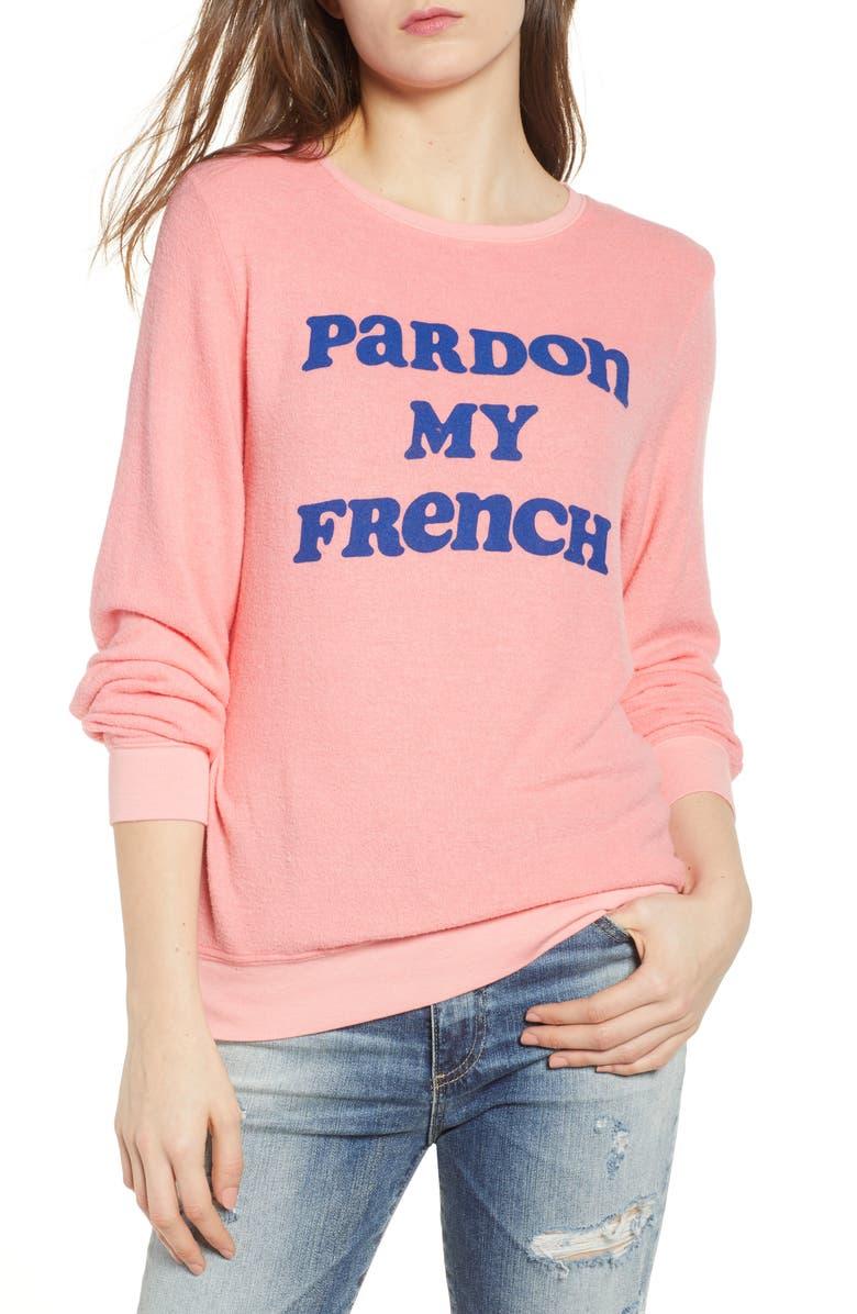 DREAM SCENE Pardon My French Sweatshirt, Main, color, PEACH CRUSH