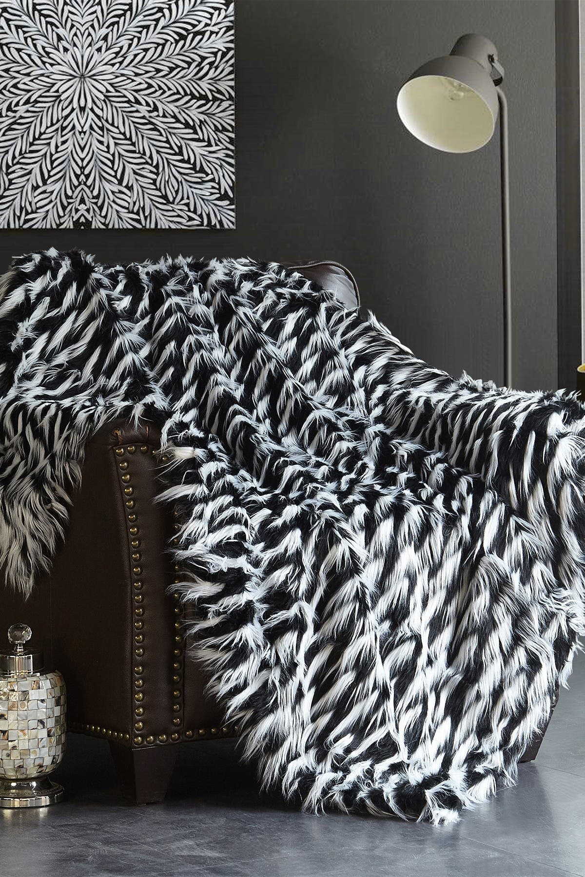 Chic Home Bedding Levida Two Tone Faux Fur Blanket 50 X 60 Black Nordstrom Rack