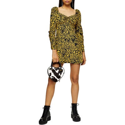 Topshop Animal Tea Long Sleeve Minidress, US (fits like 14) - Yellow