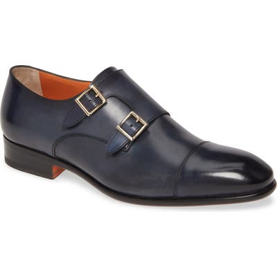 Santoni Innocent Double Monk Strap Shoe - Blue
