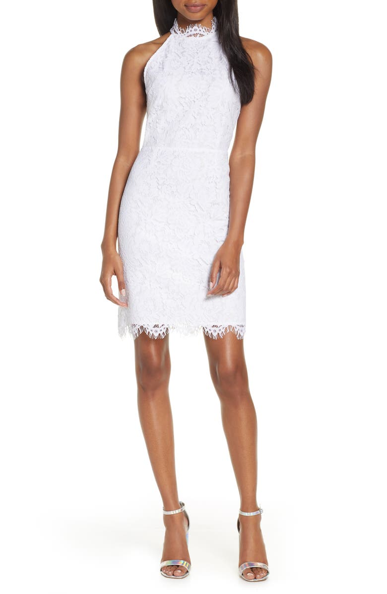 BB DAKOTA Cara High Neck Lace Cocktail Dress, Main, color, WHITE