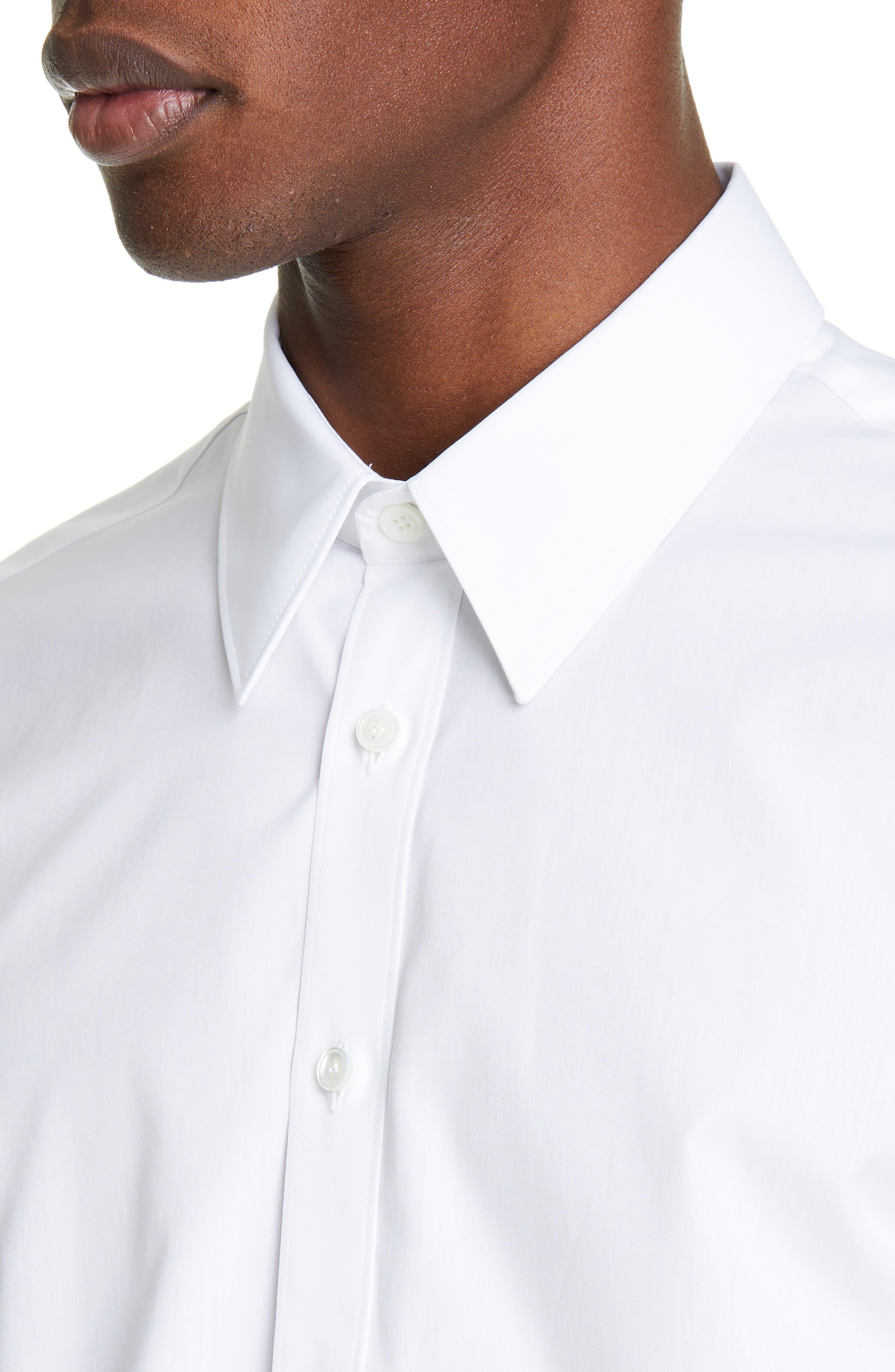 ,                             Logo Print Slim Fit Shirt,                             Alternate thumbnail 2, color,                             WHITE/SILVER