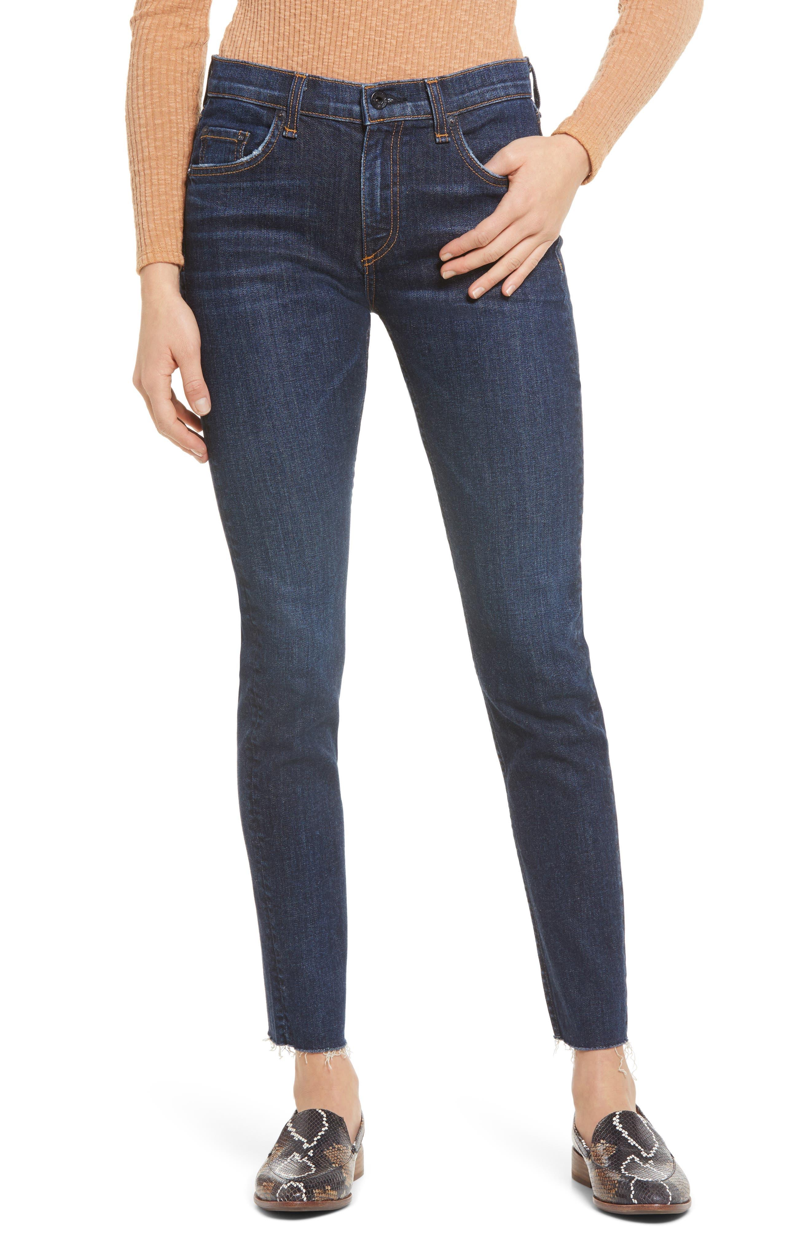 Jax High Waist Raw Hem Skinny Jeans