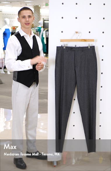 Torino Traditional Fit Flat Front Solid Wool & Cashmere Trousers, sales video thumbnail