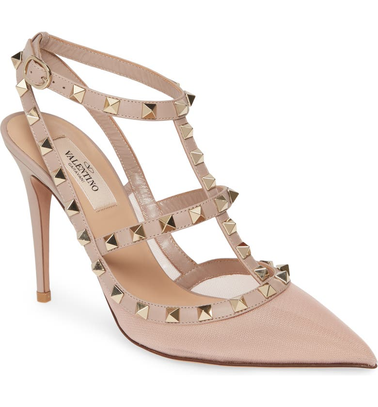 VALENTINO GARAVANI Rockstud T-Strap Mesh Pump, Main, color, WATER ROSE MESH