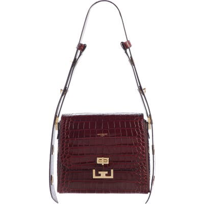 Givenchy Medium Eden Croc Embossed Leather Shoulder Bag - Burgundy