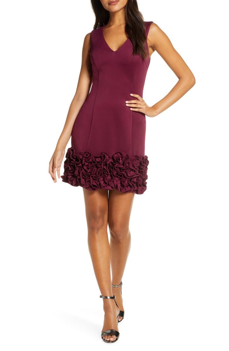 DONNA RICCO Cupcake Hem Scuba Sheath Dress, Main, color, WINE