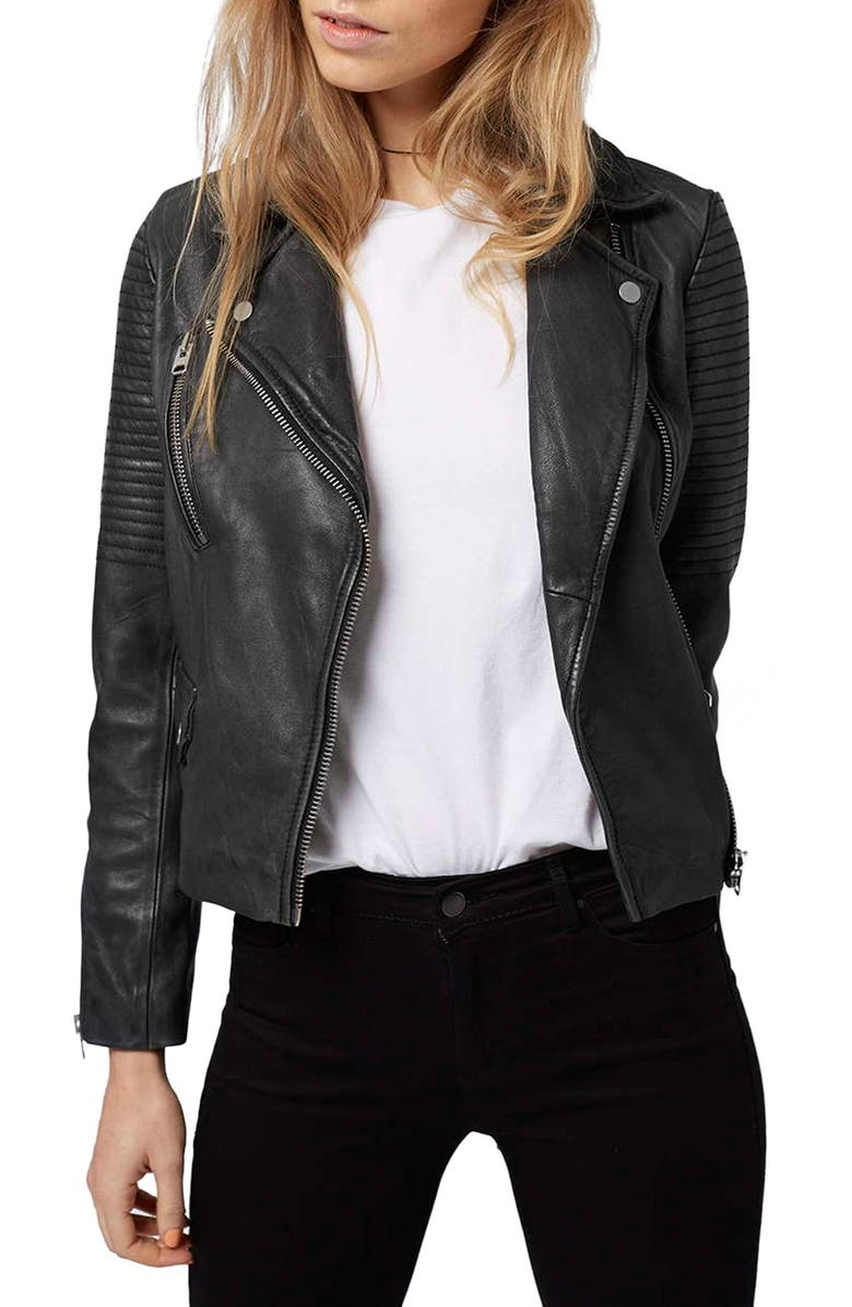TOPSHOP 'Orbit' Leather Moto Jacket, Main, color, 001