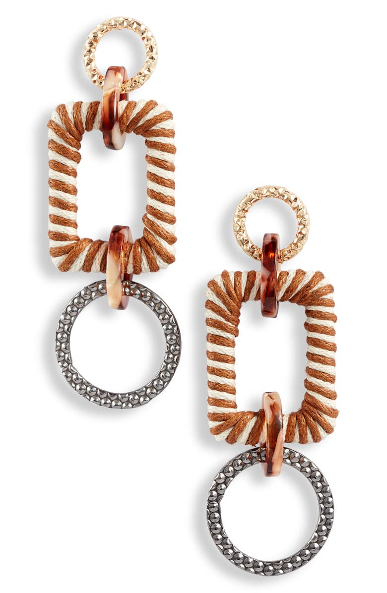 KNOTTY Mixed Media Drop Earrings, Main, color, GOLD/ BROWN