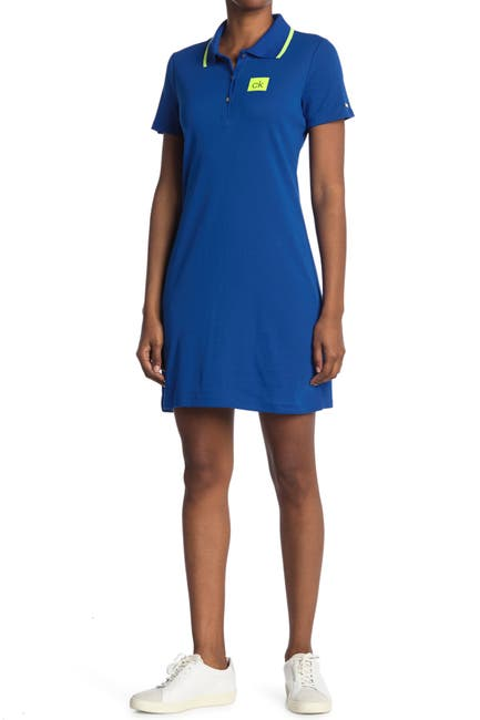 Image of Calvin Klein Chest Logo Polo Dress