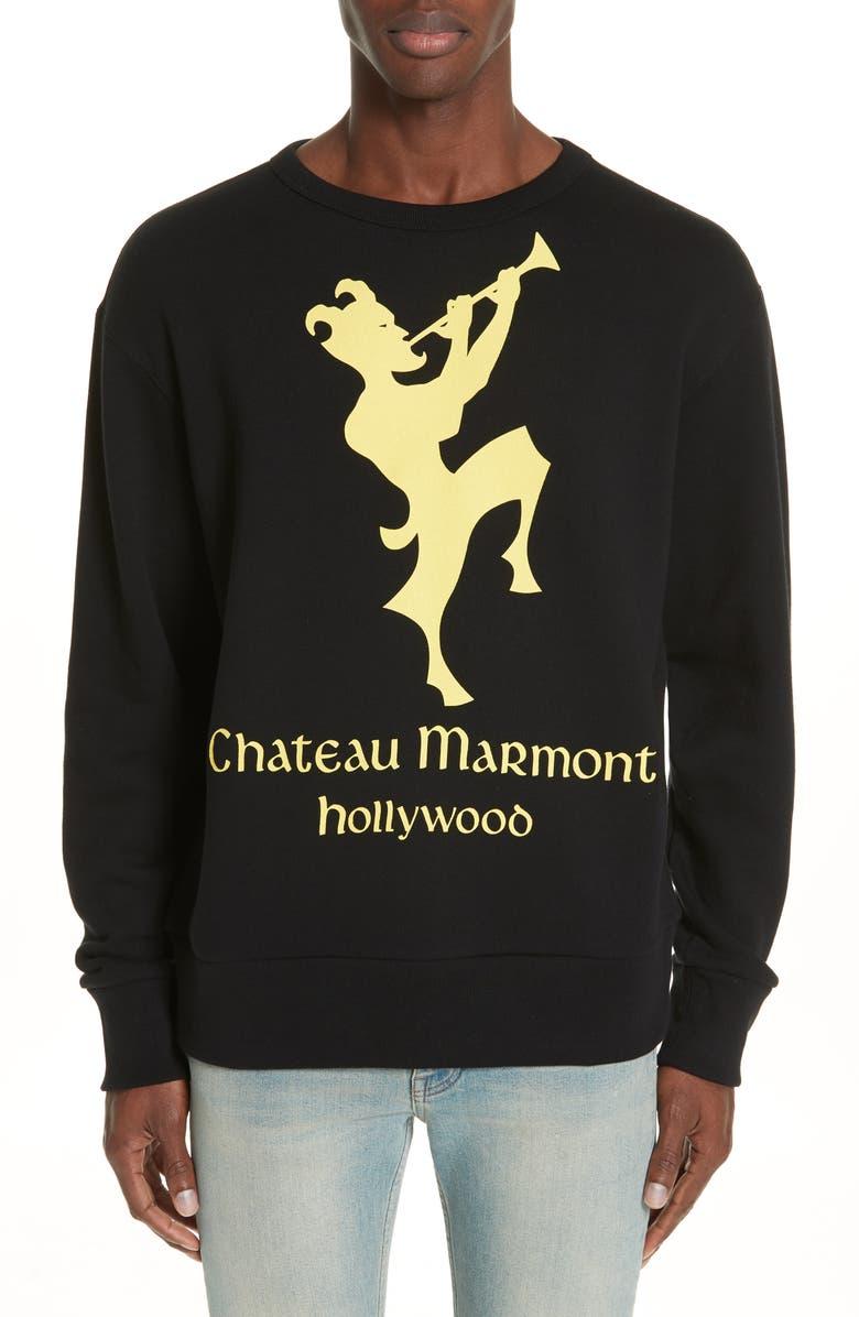 GUCCI Chateau Marmont Graphic Sweatshirt, Main, color, BLACK YELLOW