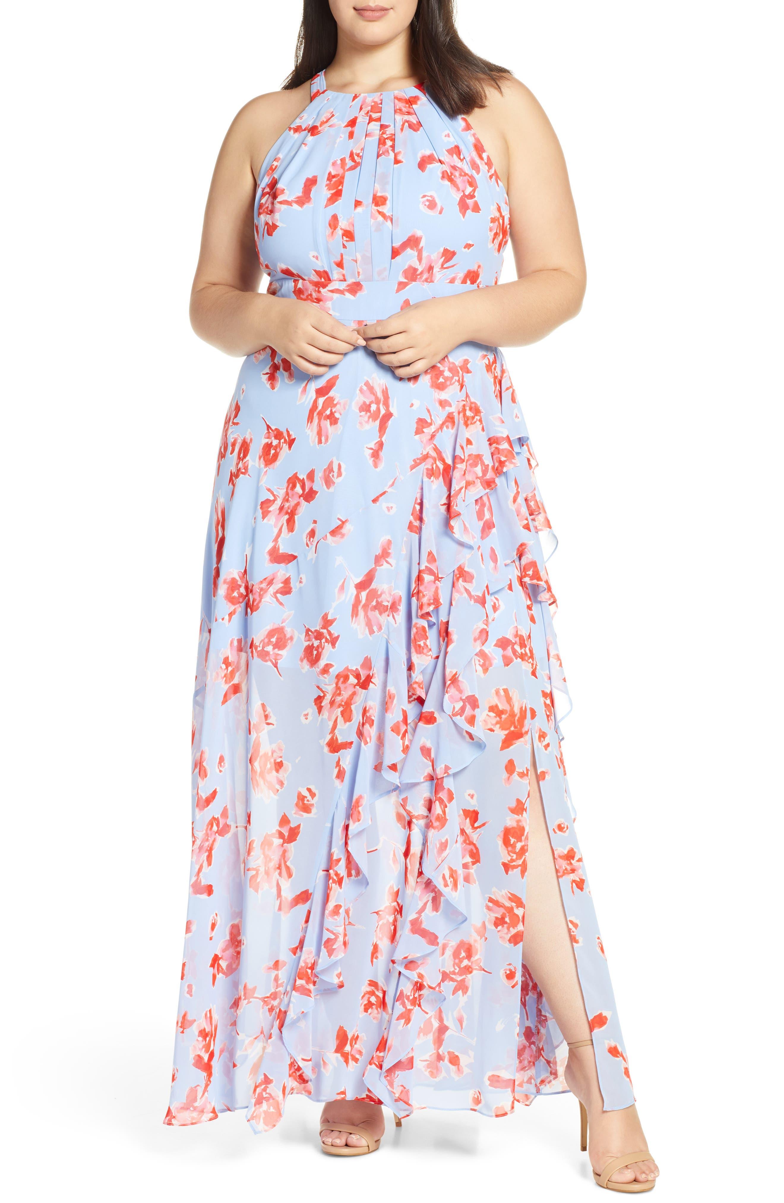 Plus Size Eliza J Halter Floral Halter Maxi Dress