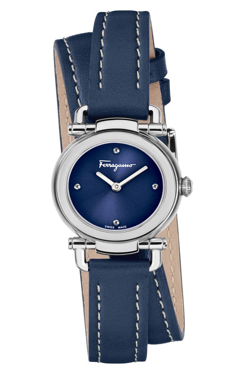 SALVATORE FERRAGAMO Gancino Leather Strap Watch, 26mm, Main, color, BLUE/ SILVER