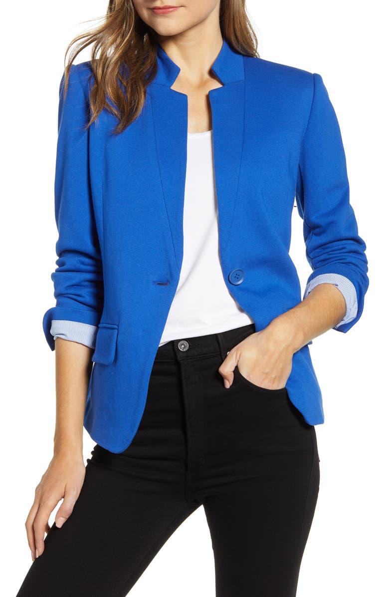 GIBSON Notch Collar Cotton Blend Blazer, Main, color, ROYAL
