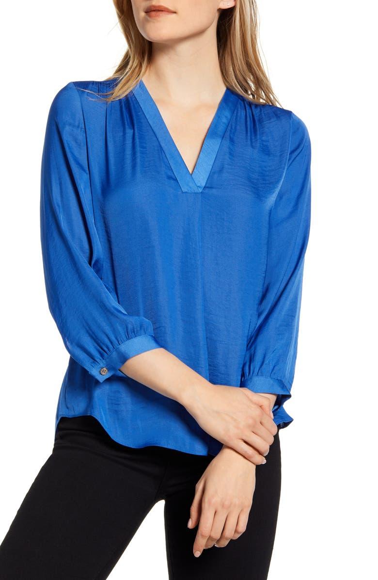 VINCE CAMUTO Rumple Fabric Blouse, Main, color, DUSK BLUE