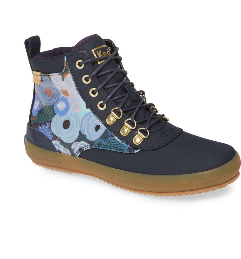 KEDS<SUP>®</SUP> x Rifle Paper Co. Scout Water Resistant Boot, Main, color, NAVY MULTI SPLASH TWILL