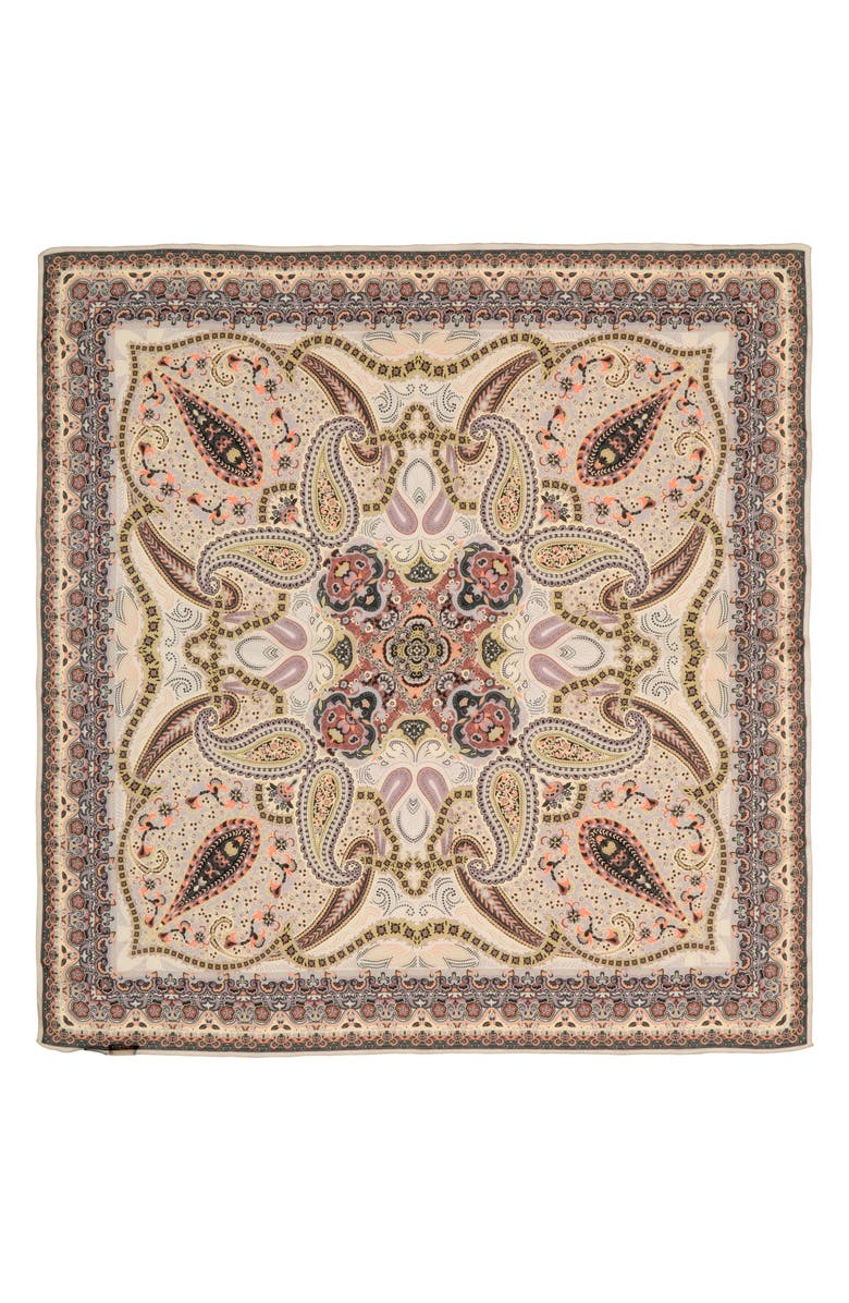 ETRO Scialle Floreale Paisley Silk Scarf, Main, color, 650