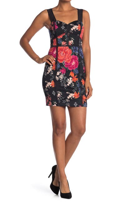 Image of GUESS Floral Print Sweetheart Neck Dress