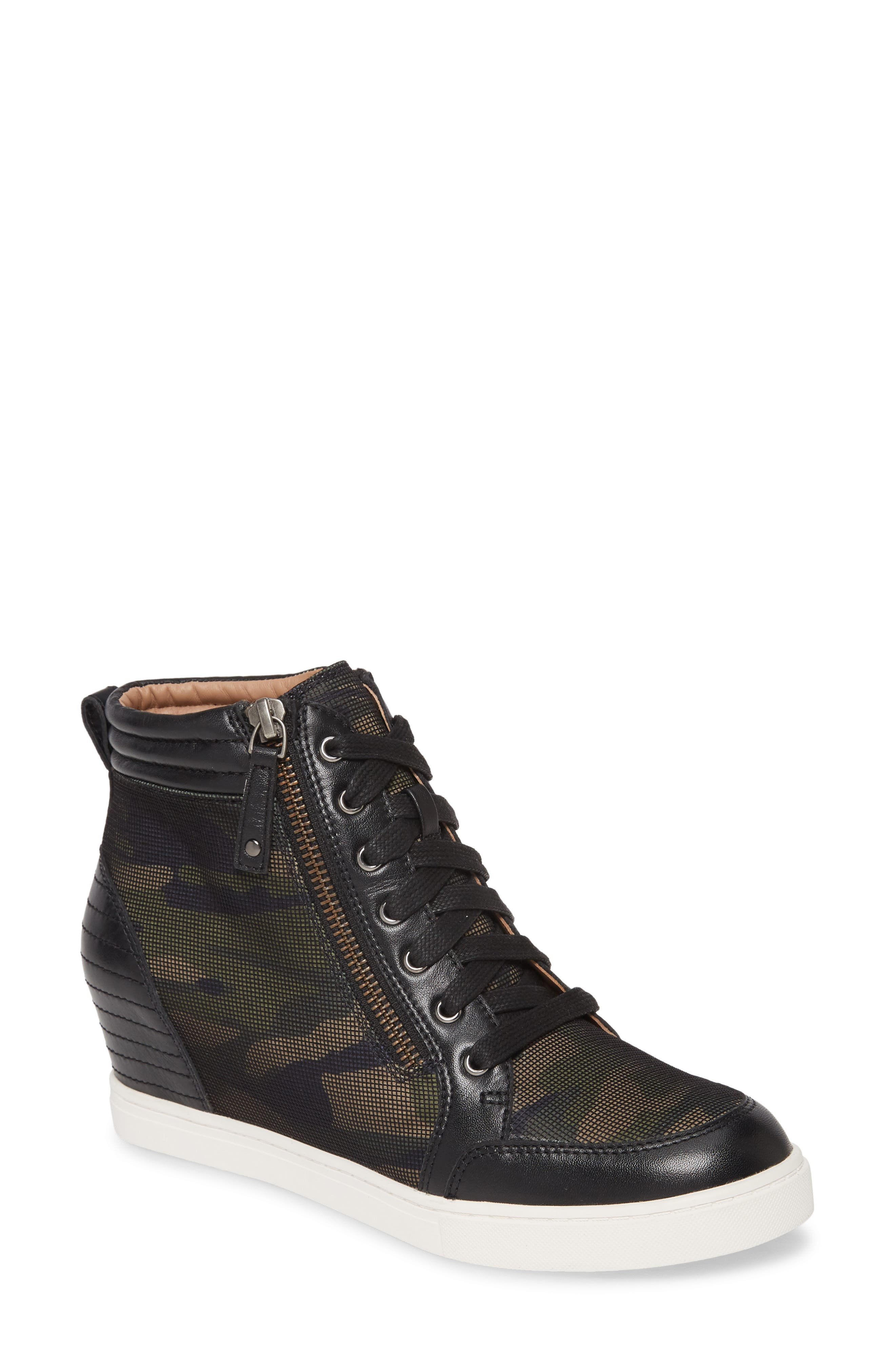 A cool camo print and channel-quilted counter amplify the street-chic appeal of this modern high-top sneaker elevated by a coyly hidden wedge. Style Name: Linea Paolo Niya Wedge Sneaker (Women). Style Number: 5941464 1. Available in stores.