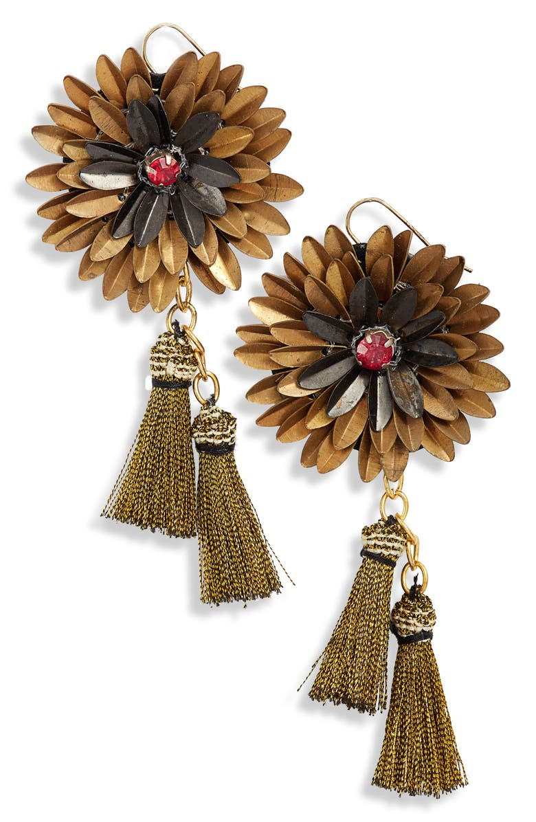 MAD JEWELS Alexandra Floral Earrings, Main, color, GOLD