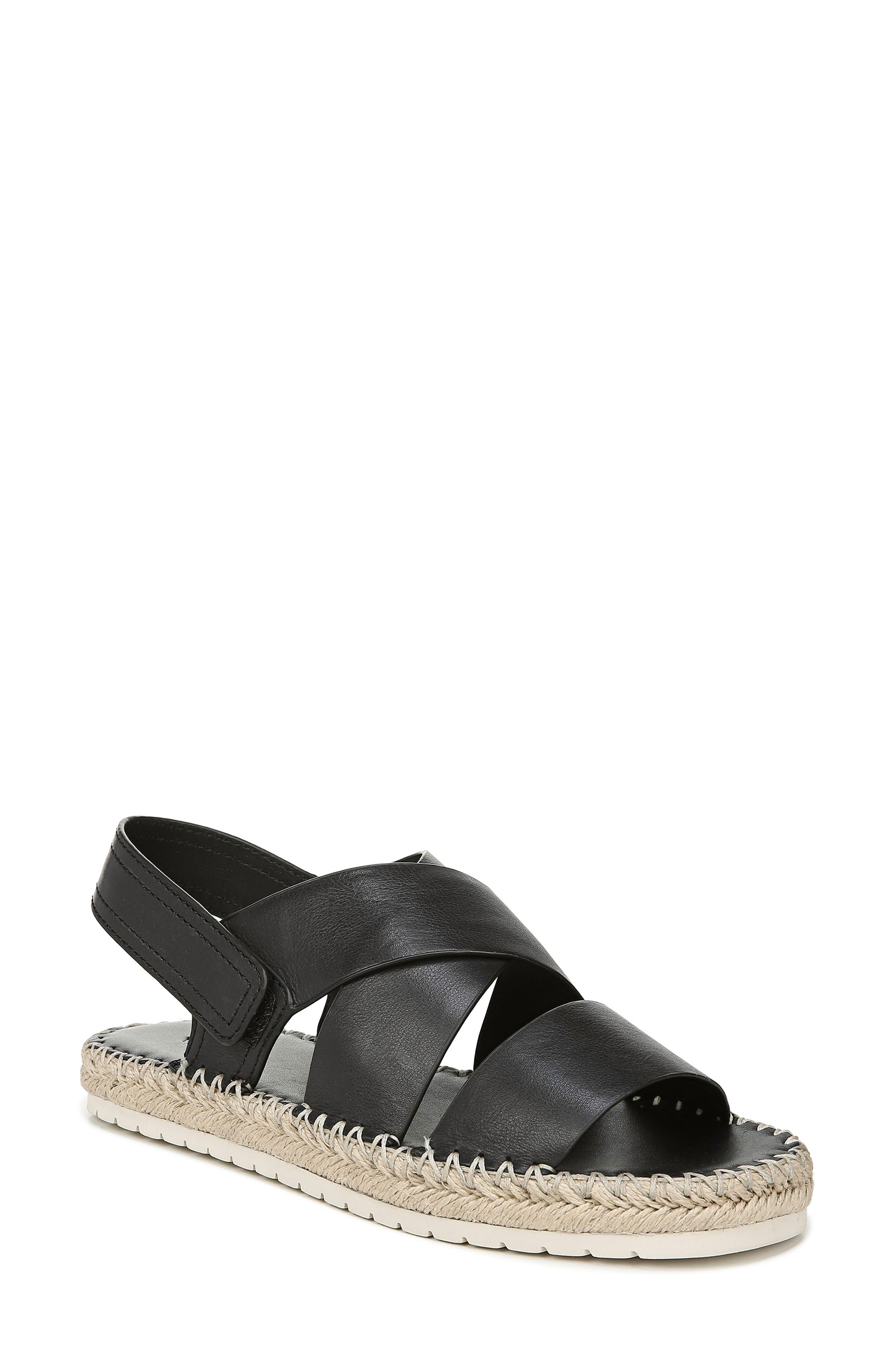 Image of Vince Tenison Leather Platform Espadrille Sandal