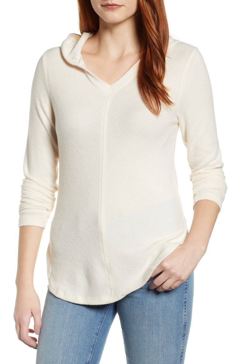 BOBEAU Sweater Hoodie, Main, color, SUGAR