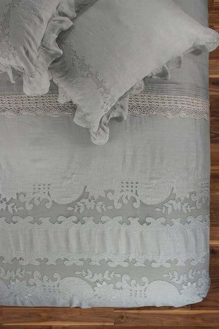 Image of Melange Home King Tabitha Linen Duvet 3-Piece Set