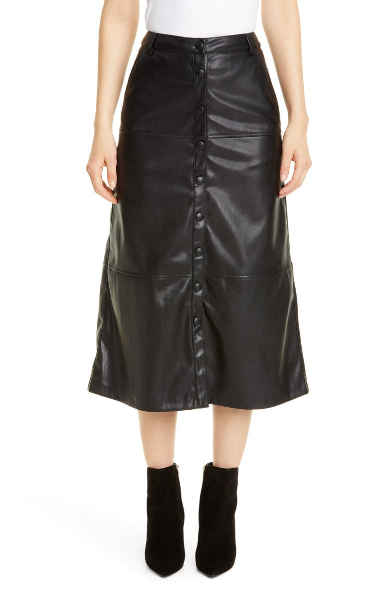SEVENTY Faux Leather Skirt, Main, color, 001