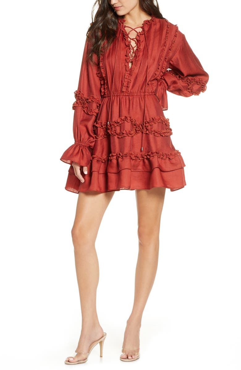 C/MEO COLLECTIVE Slow Down Long Sleeve Ruffle Minidress, Main, color, CARMINE