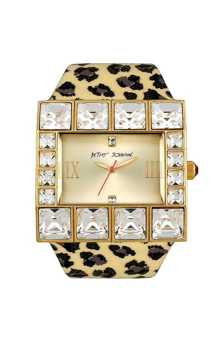 BETSEY JOHNSON Square Leather Strap Watch, Main, color, GOLD/ LEOPARD