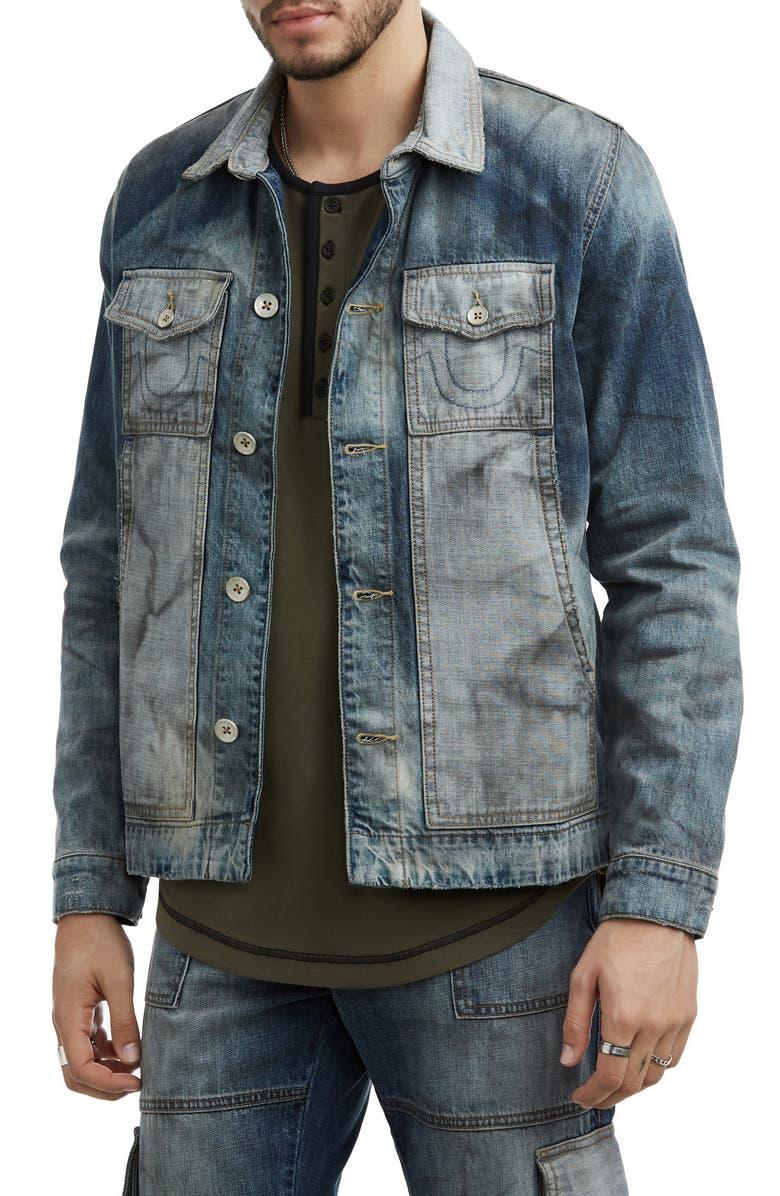 TRUE RELIGION BRAND JEANS Denim Utility Jacket, Main, color, CLOUDED JET SMOKE