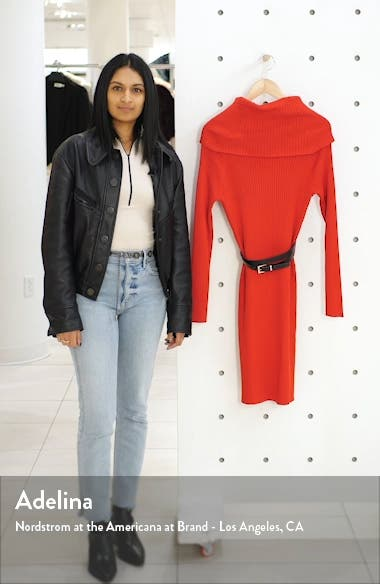 Cowl Neck Belted Long Sleeve Sweater Dress, sales video thumbnail