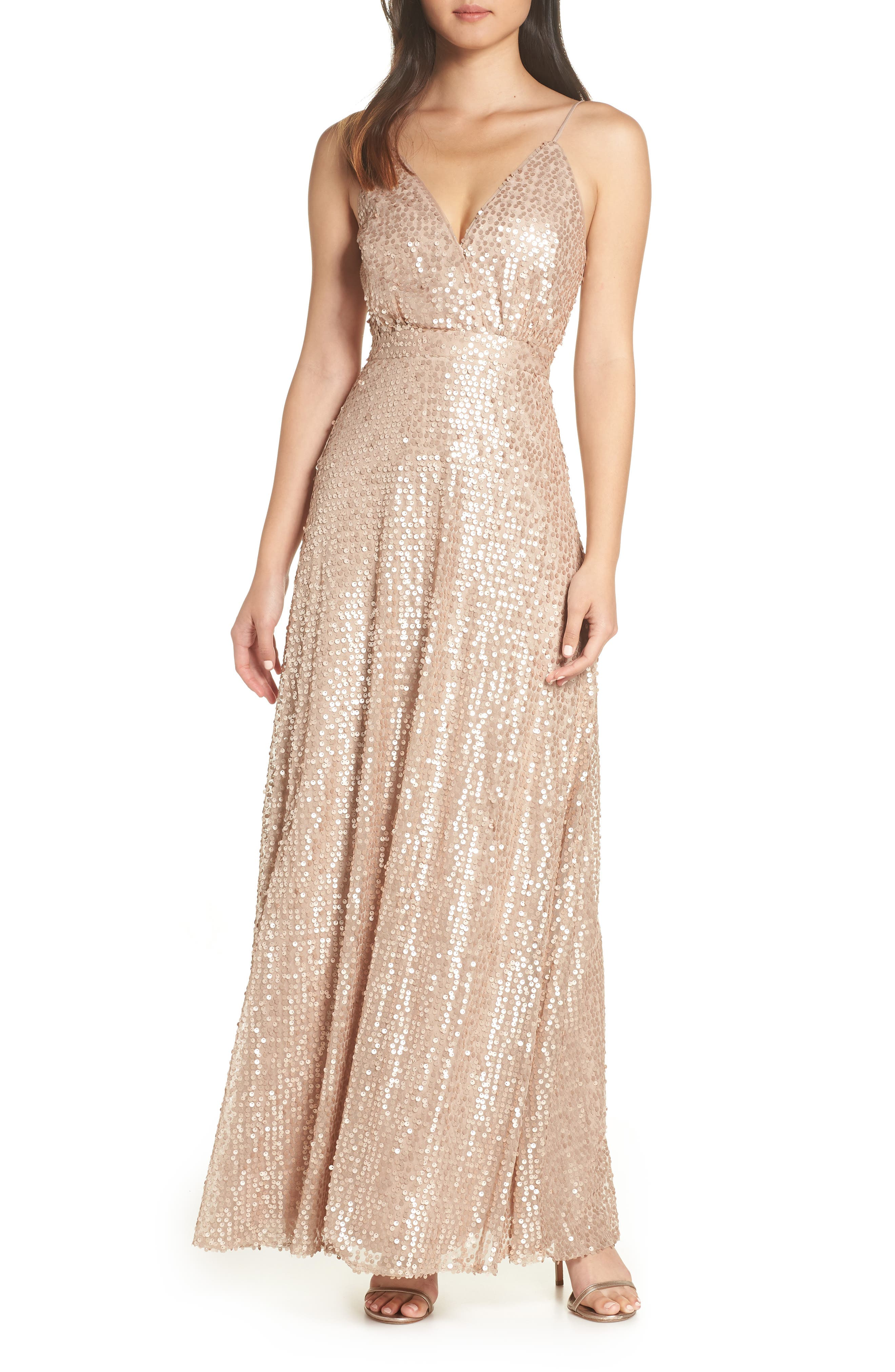 Lulus Sequin A-Line Gown, Metallic