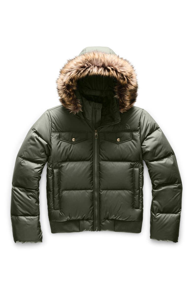 THE NORTH FACE Gotham Water Resistant 550 Fill Power Down Jacket with Faux Fur Trim, Main, color, NEW TAUPE GREEN