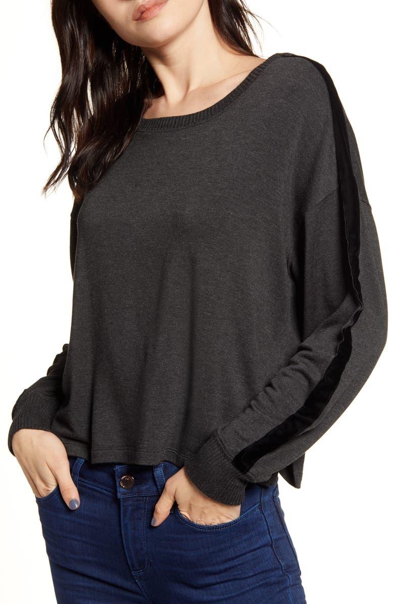 SPLENDID Velvet Stripe Pullover Top, Main, color, 020