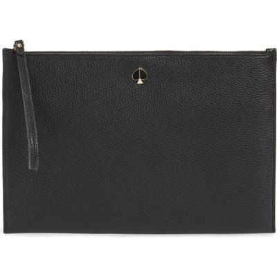 Kate Spade New York Large Polly Leather Wristlet - Black