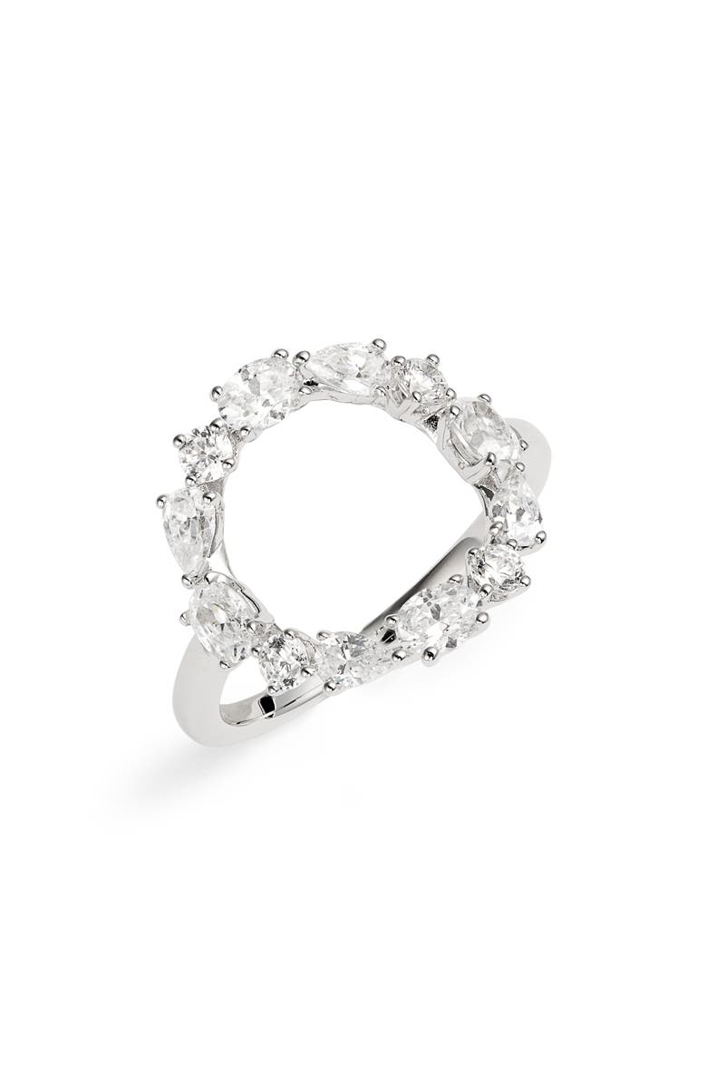 NADRI Gala Open Circle Ring, Main, color, RHODIUM
