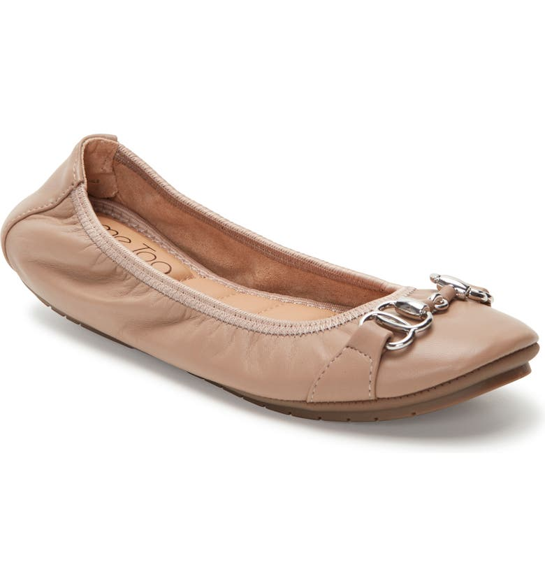 ME TOO Olympia Skimmer Flat, Main, color, DRIFTWOOD/ BROWN LEATHER