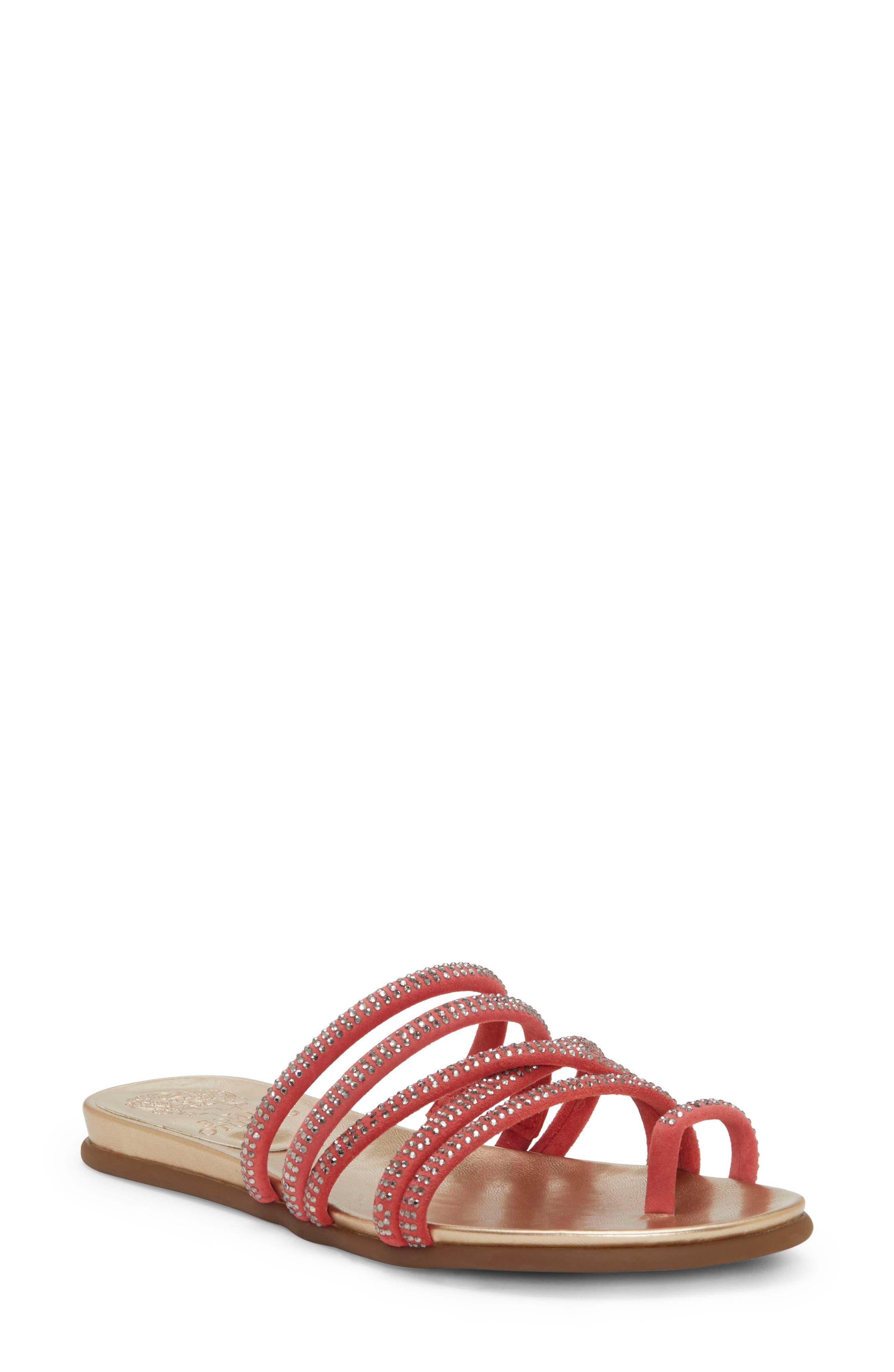 Vince Camuto Ezzina Crystal Embellished Slide Sandal, Coral