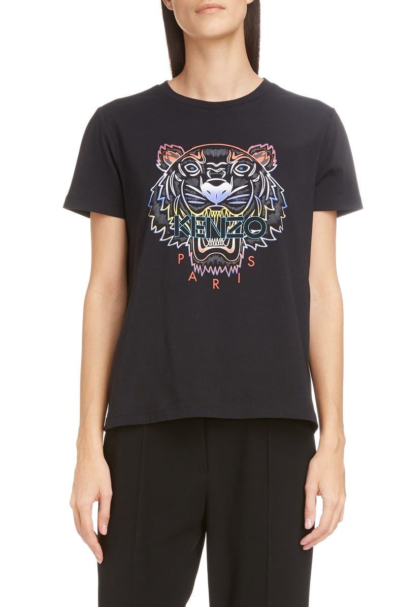 KENZO Gradient Tiger Logo Graphic Tee, Main, color, BLACK