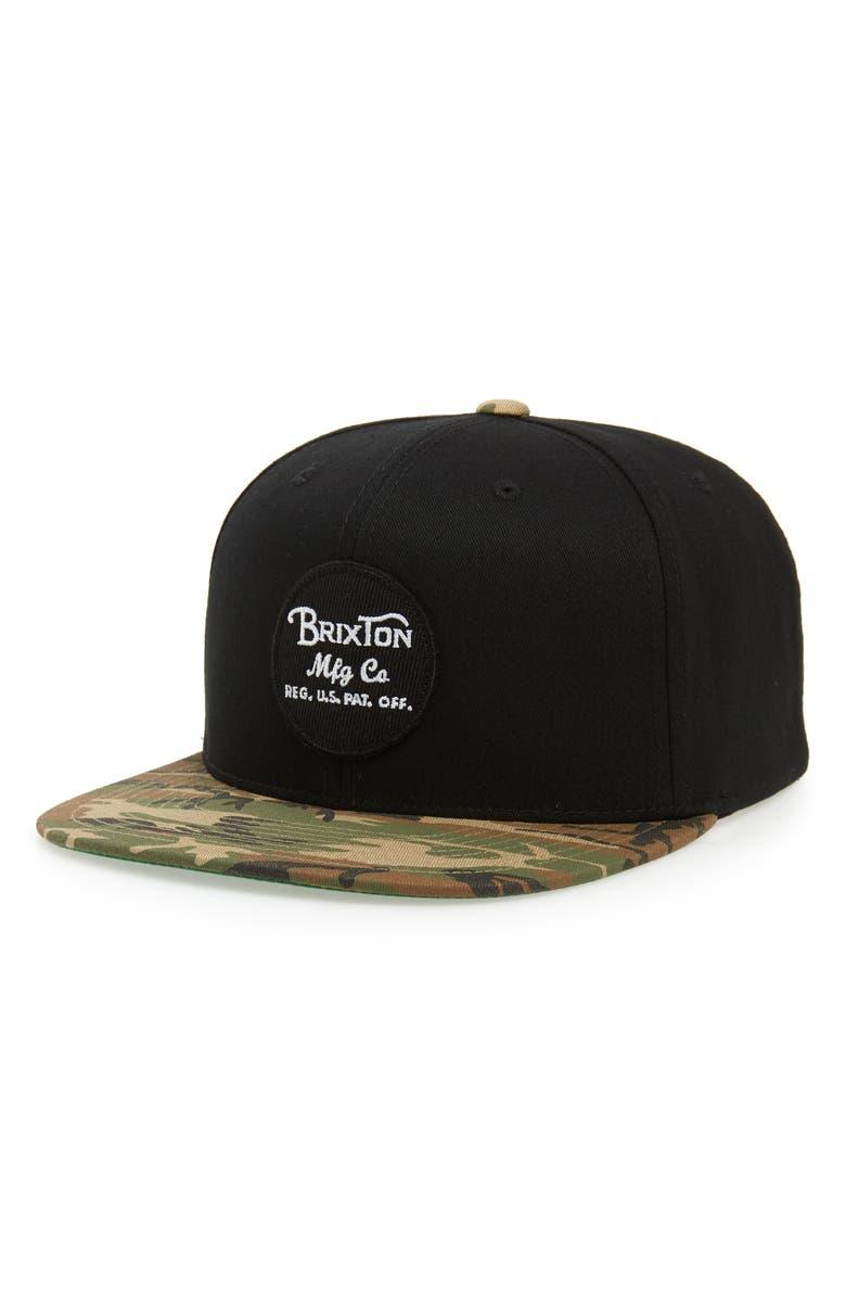 BRIXTON 'Wheeler' Snapback Cap, Main, color, 002